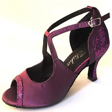 Dames Latin dansschoenen Satijn Sandalen Speciale hak Aanpasbaar Dansschoenen Goud / Paars