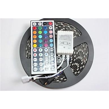 5m Fâșii De Becuri LEd Flexibile / Fâșii RGB 300 LED-uri 5050 SMD RGB Telecomandă / Intensitate Luminoasă Reglabilă / Rezistent la apă 12 V / IP65 / Schimbare - Culoare