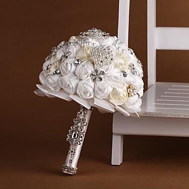 Свадебные цветы Букеты Свадьба Бусины Кружево Стразы Полиэстер 10,24