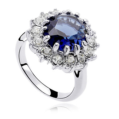 Women's Crystal Statement Ring - Zircon, Cubic Zirconia, Alloy Luxury, Fashion One Size Dark Blue For Party