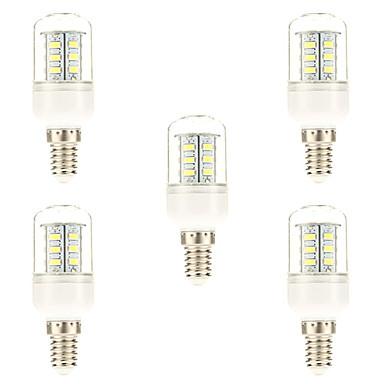 5pcs 3W 450 lm E14 LED kukorica izzók 24 led SMD 5730 Természetes fehér 6000-6500K AC 220-240V