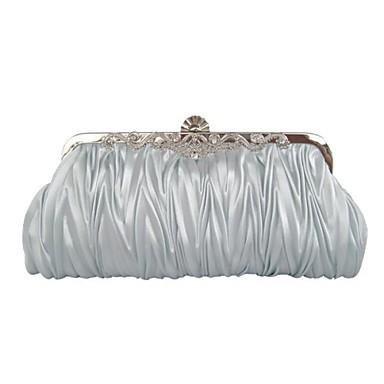 Kadın's Çantalar İpek Saten Gece Çantası Kristaller/Yapay Elmaslar Fırfırlı için Davet/Parti Kahve Kırmzı Pembe Bronz Altın