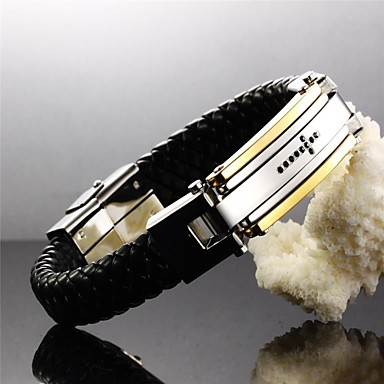 Men's Bracelet Belief  Cross 24 K Greatwall Grain Leather Woven Titanium Steel Products
