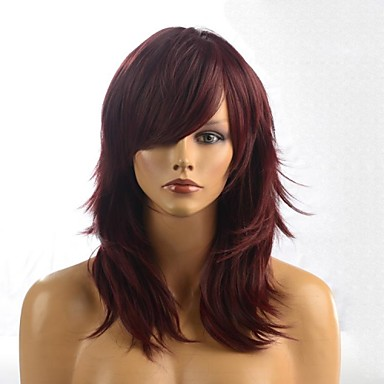 Synthetic Wig Wavy Style With Bangs Capless Wig Brown Chestnut Brown Synthetic Hair 20 inch Women's With Bangs Brown Wig