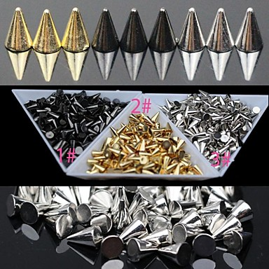 30PC Gold And Silver And Black Alloy Punk Conical Nail Art Decoration