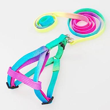 Dog Harness Leash Slip Lead Adjustable / Retractable Nylon Rainbow