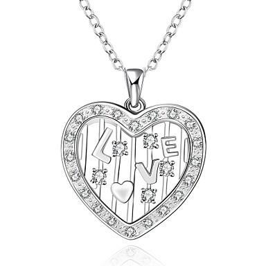 Damen Halsketten Anhängerketten Statement Ketten Anhänger Synthetische Edelsteine Sterling Silber Zirkon Kubikzirkonia Liebe Modisch