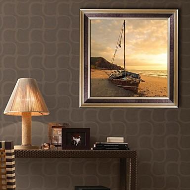 Landschap Ingelijst canvas / Ingelijste set Wall Art,PVC Gouden Zonder passepartout met Frame Wall Art