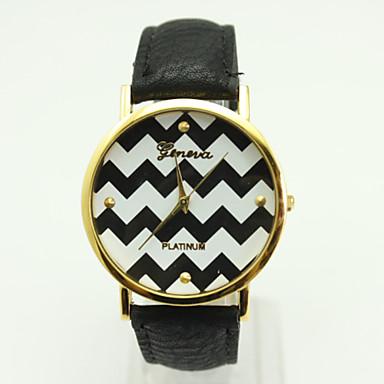 Damen Quartz Armbanduhr Modisch PU Band Freizeit Schwarz