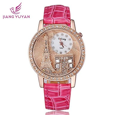 Dames Modieus horloge Polshorloge Kwarts imitatie Diamond Roos verguld PU Band Eiffeltoren Zwart Wit Rood Orange Bruin rozeOranje Koffie