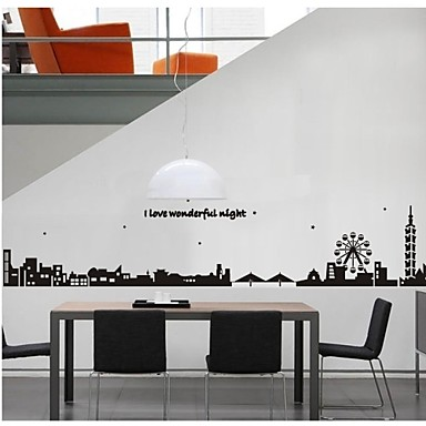 Wall Stickers Wall Decals, Style City Silhouette PVC Wall Stickers