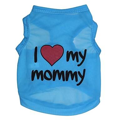 Cat Dog Shirt / T-Shirt Dog Clothes Heart Letter & Number Blue Terylene Costume For Pets