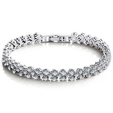Dames Armbanden met ketting en sluiting / Tennis Armbanden - Sterling zilver, Kristal, Zirkonia Liefde Luxe, Vintage, Feest Armbanden Zilver Voor Feest / Kubieke Zirkonia / Kubieke Zirkonia