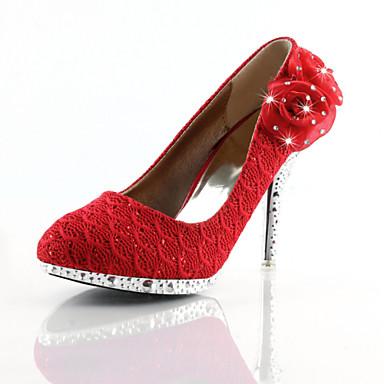 Γυναικεία παπούτσια - Γόβες - Γάμος / Φόρεμα - Τακούνι Στιλέτο - Στρογγυλή Μύτη - Δερματίνη - Κόκκινο / Χρυσό
