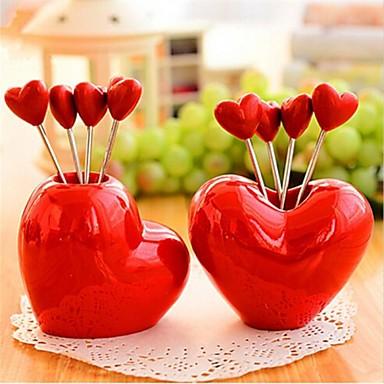 Сердце формы фруктовые нержавеющей стали вилки, нержавеющая сталь 7,5 × 7,5 × 6,5 см (3,0 × 3,0 × 2,6 дюйма) Случайные тип