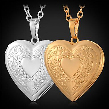Kadın's Uçlu Kolyeler / Lockets Kolye - Altın Kaplama Aşk Bayan, Moda Altın Kolyeler Mücevher Uyumluluk Günlük