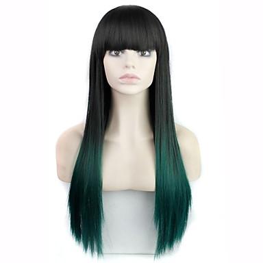 Synthetische Perücken Glatt / Locken Stufenhaarschnitt Synthetische Haare 30 Zoll Wasserfall Schwarz / Mehrfarbig Perücke Damen Lang Vollspitze / Kappenlos