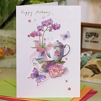 Seitlich gefaltet Hochzeits-Einladungen 1 - Dankeschön-Karten Geblühmter Style Kartonpapier 7 1/2