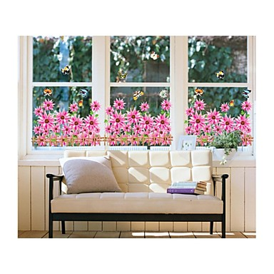 Wall Stickers Wall Decals, Style Sunflowers Pink PVC Wall Stickers