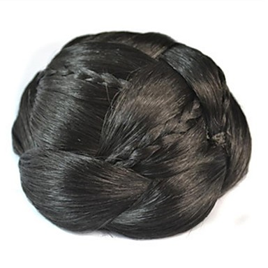 Natural Black Kinky Curly Hair Bun Updo Braided chignons Clip In Synthetic Hair Hair Piece Hair Extension