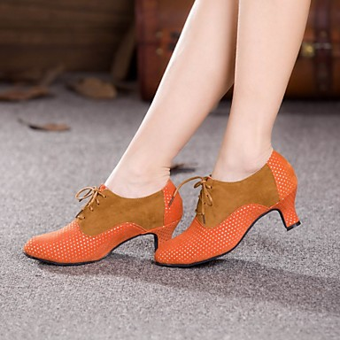 Damen Schuhe für modern Dance / Ballsaal Wildleder Absätze Schnürsenkel Kubanischer Absatz Keine Maßfertigung möglich Tanzschuhe Braun /