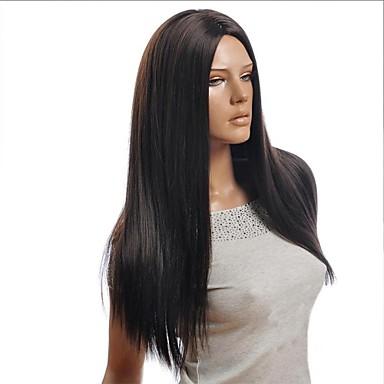 Syntetiske parykker Rett Asymmetrisk frisyre Syntetisk hår Naturlig hårlinje Svart Parykk Dame Lang Cosplay-parykk / Kostyme Parykk /