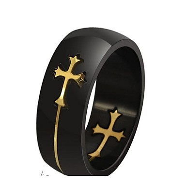 Men's Statement Ring Silver Golden Titanium Steel Cross Christmas Gifts Wedding Party Daily Casual Sports Costume Jewelry