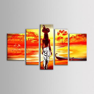 Handgemalte Menschen Segeltuch Hang-Ölgemälde Haus Dekoration Fünf Panele
