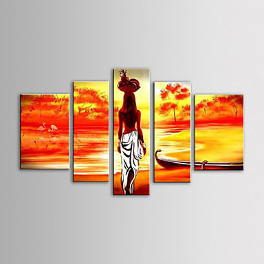El-Boyalı İnsanlar Tuval Hang-Boyalı Yağlıboya Resim Ev dekorasyonu Beş Panelli