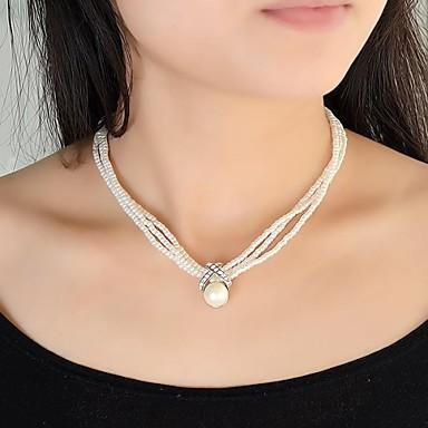 06951d911aa6 Mujer Perla Collar de hebras Collar con perlas Perla damas Moda  Gargantillas Joyas Para Fiesta Diario
