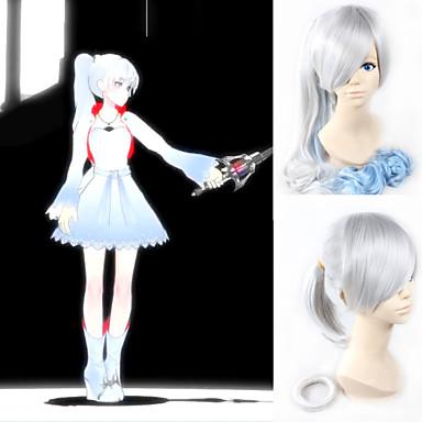 angelaicos vrouwen RWBY weiss schnee witte trailer lolita lang krullend blauwe gradiënt halloween cosplay pruiken 90cm paardenstaart