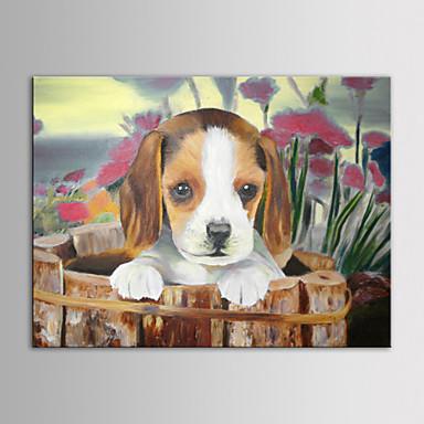 gerilmiş çerçeve ile modern bir hayvan güzel köpek küçük popy el boyalı tuval boyama iarts yağ