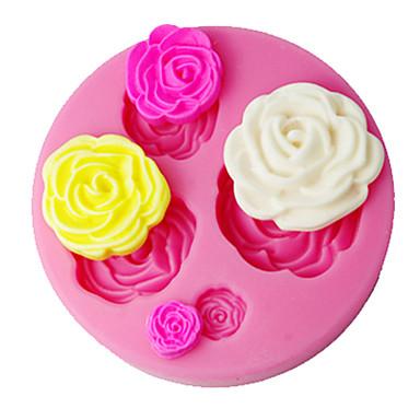 четыре с помадной декорирование плесень 3d розы для украшения торта поставок розовый цвет SM-018