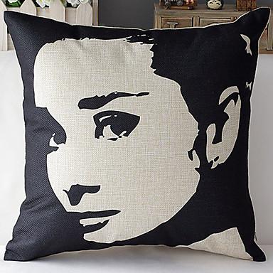 Modern tarzı Audrey Hepburn yüz desenli pamuk / keten dekoratif yastık kılıfı