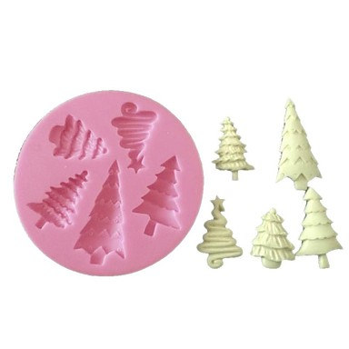 3D Fondant Silicone Cake Decorating Mold Christmas Tree Silicone Mold
