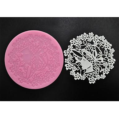 Vier c Backen liefert süßen Spitzen Matte Silikonform für Kuchen machen, Silikonmatte Fondantkuchen Werkzeuge Farbe Rosa