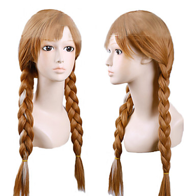 Angelaicos Women Snow Queen Anna Long Brown Braids Pink Highlights Halloween Party Lolita Cosplay Wig Costume