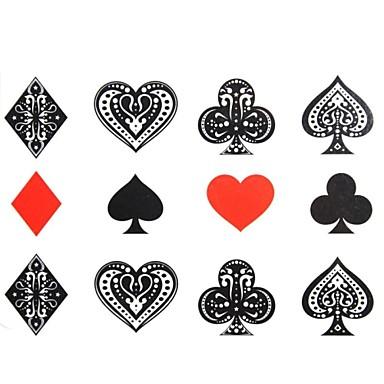 2PCS Yimei Tattoo Stickers Waterproof Others Women/Men/Adult/Teen Red/Black Fancy Heart Pattern17cm*16cm