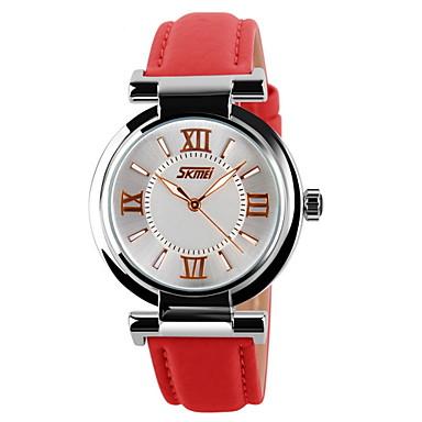 SKMEI Damen Modeuhr Armbanduhren für den Alltag Quartz Japanischer Quartz Armbanduhren für den Alltag Leder Band Charme Schwarz Weiß Blau