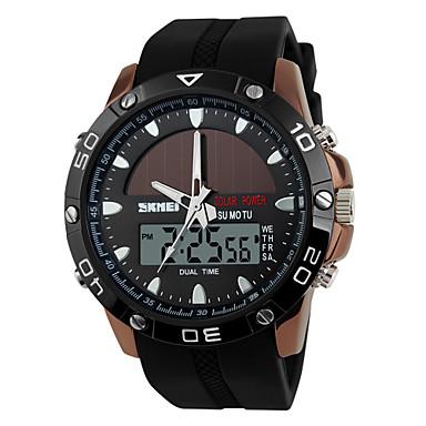 SKMEI Муж. Цифровой электронные часы Спортивные часы Секундомер Работает от солнечной энергии С двумя часовыми поясами силиконовый Группа