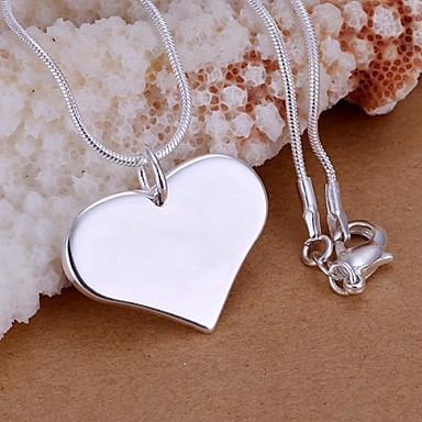Kadın's Kalp Som Gümüş Uçlu Kolyeler  -  Aşk Moda Kolyeler Uyumluluk Düğün Parti Günlük
