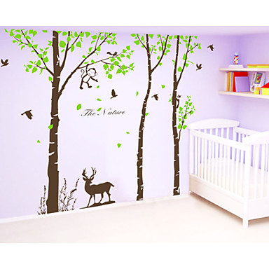 muurstickers muur stickers, grote boom met herten monkey muursticker