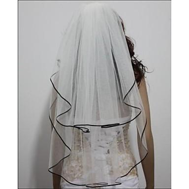 Çift katman Kurdele Kenar Gelin Duvakları Kurdele Bağcık  -  Dirsek Başlığı 31.5 inç (80cm) Saten Tül