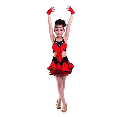Taniec latynoamerykański Suknie Wydajność Poliester Kwiat Bez rękawów Naturalny