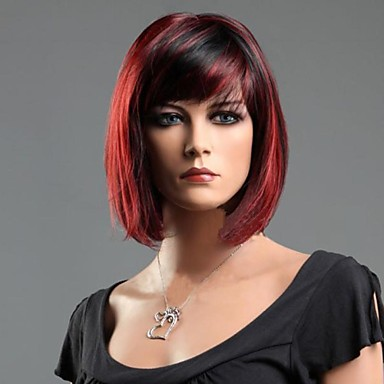 Women's Synthetic Wig Short Straight Red Mixed Black Carnival Wig Cosplay Wig Halloween Wig Costume Wig