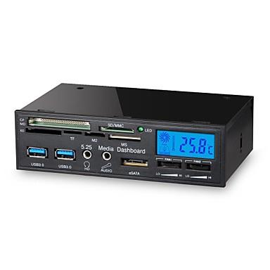 5,25 hüvelykes 6 in 1 USB 3.0 multifunkcionális LCD ventilátorvezérlőt panel média műszerfal kártyaolvasó
