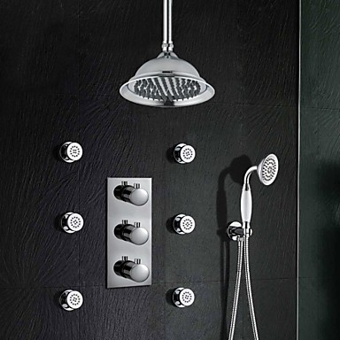 Buy 3 Handle Thermostatic Mixer Valve Chrome Brass 8 Inch Shower Faucet Rainfall Body Jets