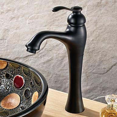 Traditionell Mittellage Keramisches Ventil Ein Loch Einhand Ein Loch Öl-riebe Bronze, Waschbecken Wasserhahn