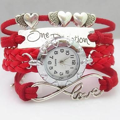 Dames Armbandhorloge Modieus horloge Kwarts PU Band Heart Shape Bohémien Rood