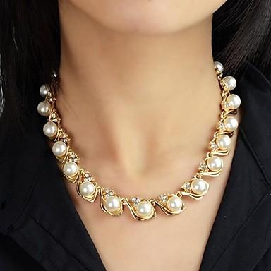 abordables Collier-Collier de Perle Collier de perles Femme Chapelet Perle Perle Doré dames Mode Colliers Tendance Bijoux pour Mariage Soirée Quotidien Décontracté